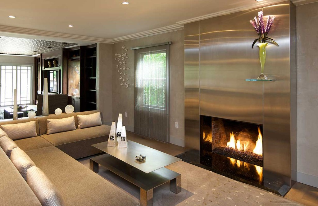 NJ chic contemporary interior stainless steel fireplace