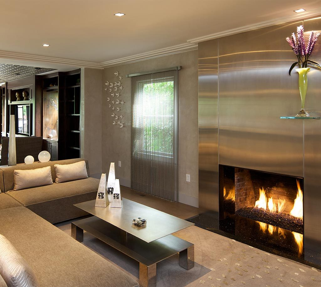 stainless steel fireplace contemporary new jersey interior design