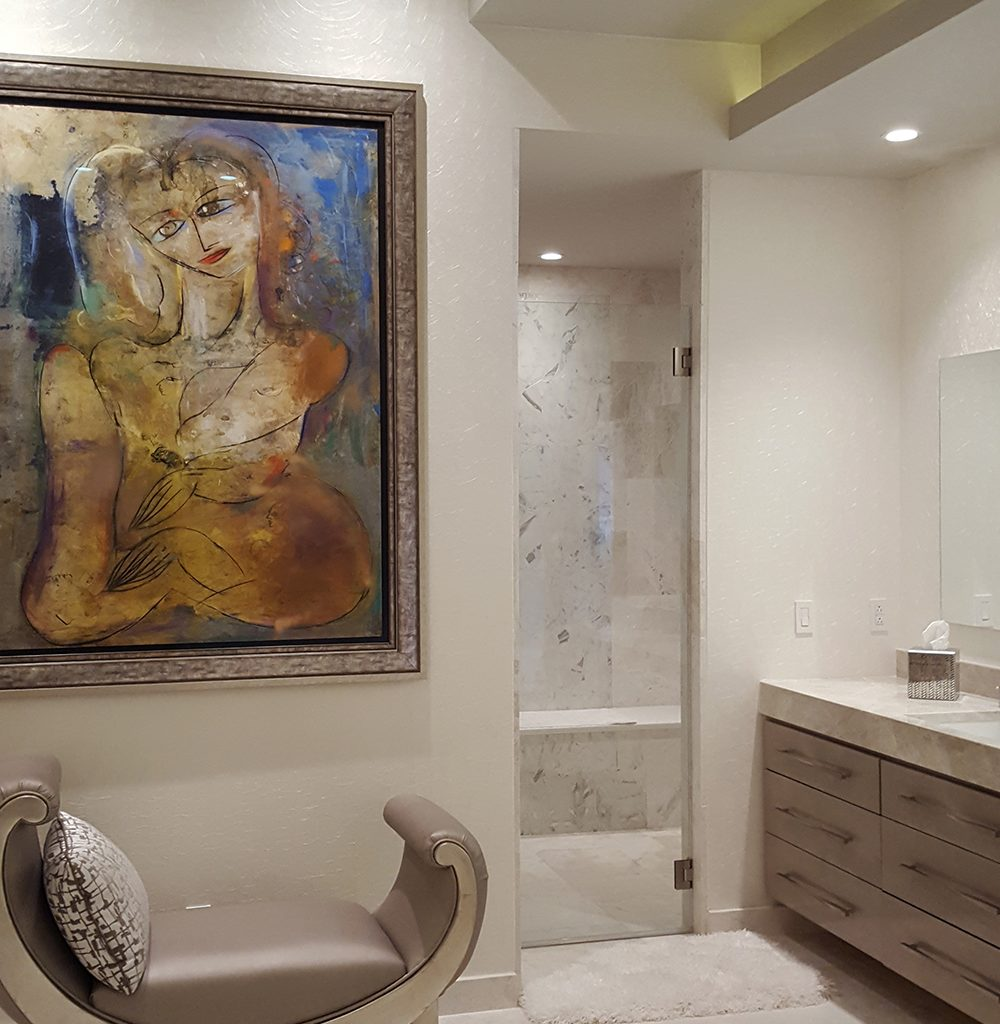 Bathroom with raised backlit ceiling